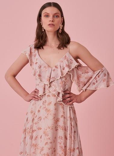 morhipo x dcey İnci Detaylı Çiçek Desenli Elbise Pembe